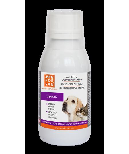 bote de 120ml de alimento complementario senior para perros y gatos adultos