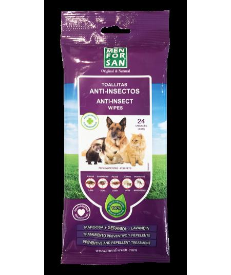paquete de 24 toallitas anti insectos para mascotas